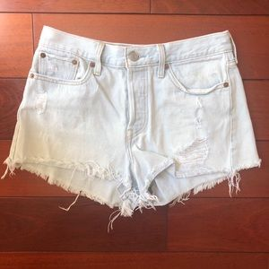 Various colors of Levi's high waisted 501 shorts